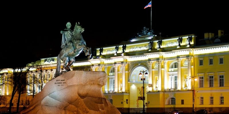 Caballero de Bronce en la Plaza del Senado, San Petersburgo